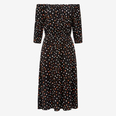 IRREGULAR SPOT OFF SHOULDER DRESS