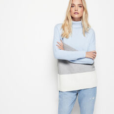 PATCHWORK HIGH NECK KNIT