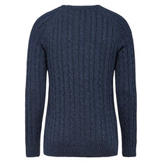 CABLE WOOL BLEND CREW NECK KNIT