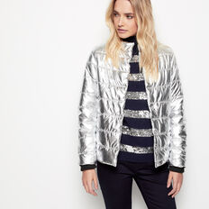 APRES SEQUIN STRIPE ROLL NECK
