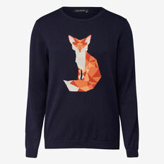 FOX INTARSIA CREW NECK KNIT