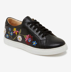 EMBROIDERED LEATHER SNEAKER