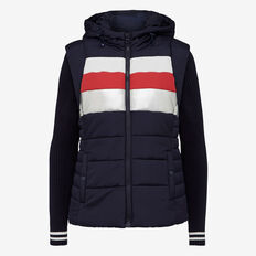 RETRO KNIT SLEEVE PUFFER JACKET  NOCT/BRIGHT RED/SILV  hi-res