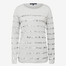 STRIPES AND SEQUINS TEE  GREY MARLE/SILVER  hi-res