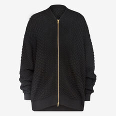 TEXTURED SCALE BOMBER KNIT  BLACK  hi-res