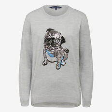 FRENCH PUG SEQUIN KNIT  GREY MARLE/SILVER  hi-res