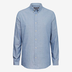 PRINTED OXFORD SLIM FIT SHIRT  AUTHENTIC BLUE WASH  hi-res