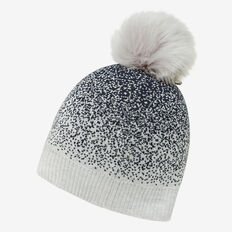 GRADUATED SPECKLE KNIT BEANIE  GREY  hi-res
