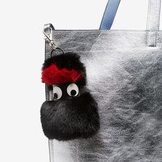 FURRY FRIEND BAG CHARM  BLACK/RED  hi-res