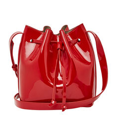MINI PATENT BUCKET BAG  RED  hi-res