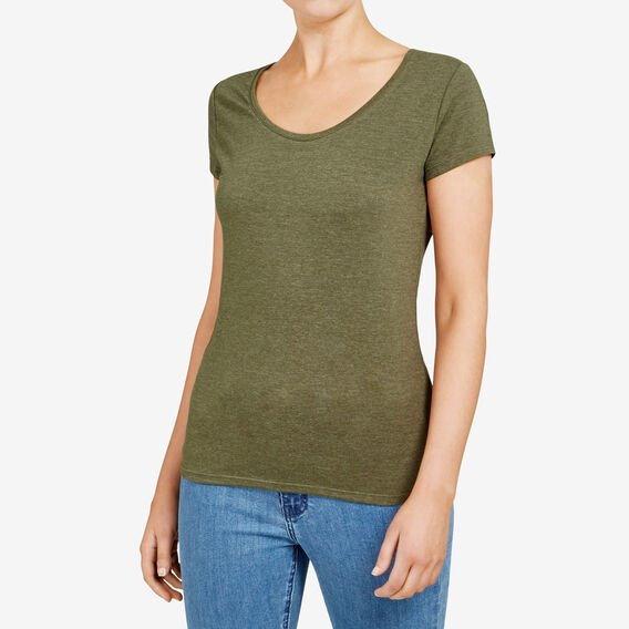 HAYLEY STRETCH SCOOP NECK TEE  KHAKI MARLE  hi-res
