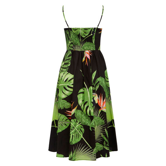 PALM PRINTED DRESS  BLACK/MULTI  hi-res