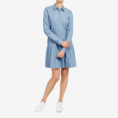 RUFFLE DENIM SHIRT DRESS  STONE WASH  hi-res