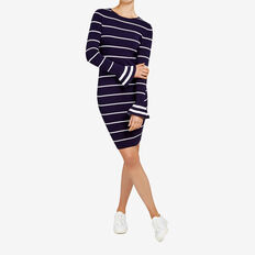 FLUTE SLEEVE KNIT DRESS  NOCTURNAL/SUMMER WHI  hi-res