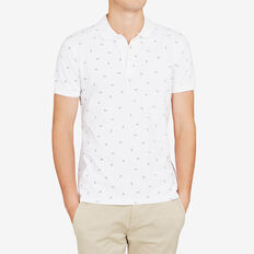 SHARK PRINTED PIQUE POLO  WHITE  hi-res