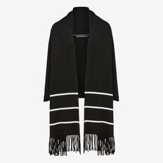 THREE STRIPE SCARF WRAP  BLACK MULTI  hi-res