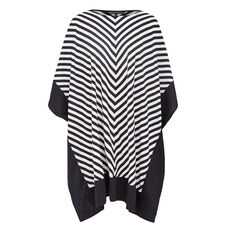 CONTRAST BOARDER PONCHO  BLACK/WHITE  hi-res