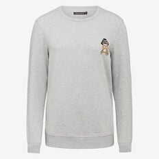 PROFESSOR PUG CREW NECK SWEAT  GREY MARLE  hi-res