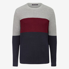 BLOCK STRIPE CREW NECK KNIT  GRY ML/COL RED/M BLU  hi-res