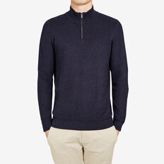 HALF ZIP THRU KNIT  MARINE BLUE MELANGE  hi-res