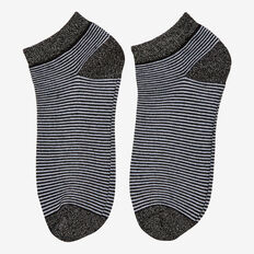 MINI STRIPE ANKLE SOCK  BLACK/SILVER  hi-res