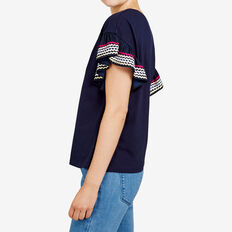 RUFFLE LATTUS TRIM TEE  NOCTURNAL/MULTI  hi-res
