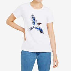 BIRD SEQUIN PLACEMENT TEE  SUMMER WHITE  hi-res