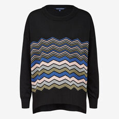 LUREX CHEVRON STRIPE KNIT  BLACK MULTI  hi-res