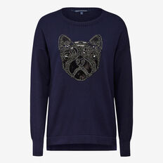 PUG PLACEMENT KNIT  NOCTURNAL/SILVER  hi-res