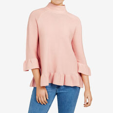 RUFFLE HEM KNIT  LIGHT PINK  hi-res