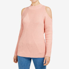 COLD SHOULDER PANEL MOZART KNIT  LIGHT PINK  hi-res