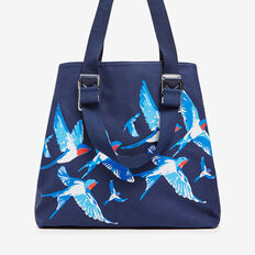 BIRD PRINT TOTE  NAVY MULTI  hi-res