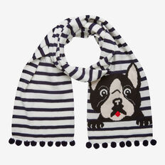 STRIPE PUG SCARF  WHITE/NAVY  hi-res