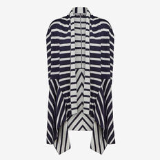 STRIPE PANELED PONCHO  NAVY/GREY MARLE  hi-res