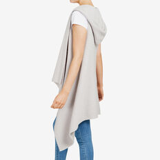 HOODED RIB PONCHO  GREY  hi-res