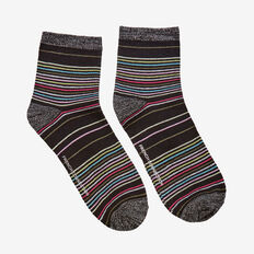 MULTI COLOUR STRIPE SOCK  BLACK MULTI  hi-res