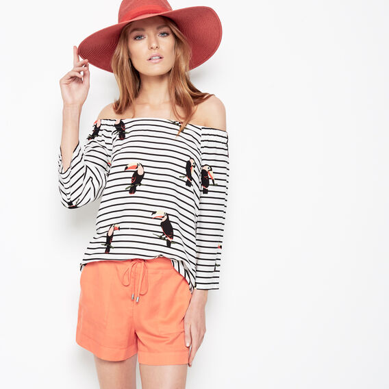 TOUCAN OFF SHOULDER SHIRT  TOUCAN STRIPE  hi-res
