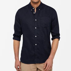 LINEN REGULAR FIT SHIRT  OXFORD BLUE  hi-res