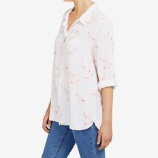 FLAMINGO PRINTED SHIRT  SUMMER WHITE/PINK  hi-res