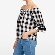 CHECK OFF SHOULDER SHIRT  SUMMER WHITE/BLACK  hi-res
