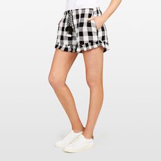 CHECK RUFFLE HEM SHORT  SUMMER WHITE/BLACK  hi-res