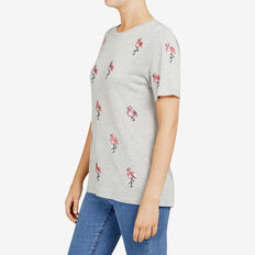 SEQUINED FLAMINGO TEE  GREY MARLE/PINK  hi-res
