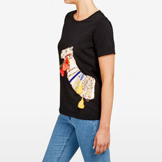 CAMEL PLACEMENT TEE  BLACK MULTI  hi-res