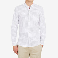 EXPLORER GEO PRINT SLIM FIT SHIRT  WHITE  hi-res