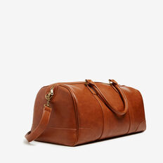 LEATHER LOOK TRAVEL BAG  LIGHT TAN  hi-res