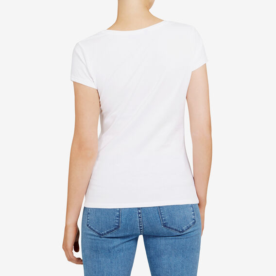 HAYLEY STRETCH SCOOP NECK TEE  WHITE  hi-res
