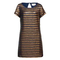 SERPENT SEQUIN DRESS  NAVY/GOLD  hi-res