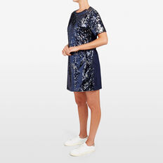 SEQUIN JERSEY DRESS  NOCTURNAL/SILVER  hi-res