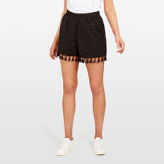 TEXTURED TASSEL HEM SHORT  BLACK  hi-res