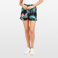 FRILL HEM PRINTED SOFT SHORT  BLACK/MULTI  hi-res